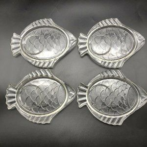 Vintage Glass Fish Snack Appetizer Cocktail Dishes